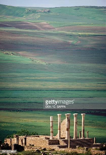 The Capitolium in the Roman city of Volubilis Morocco Roman civilisation 3rd century
