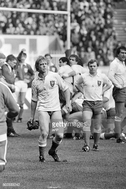 The captain of French rugby team JeanPierre Rives is changing panties during the Five Nations Championship rugby match France vs Ireland on January...
