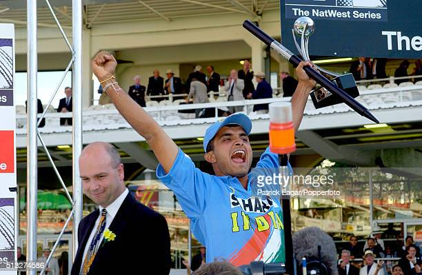 The captain of India Sourav Ganguly celebrates winning the NatWest Series Final between England and India at Lord's London 13th July 2002 India won...