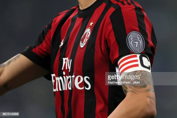 The captains arm band worn by Leonardo Bonucci of AC Milan and a badge commemorating seven UEFA Champions League championships during the Serie A...