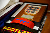 The captains' armband is laid out in the changing room prior to kickoff during the International Friendly match between Scotland and England at...