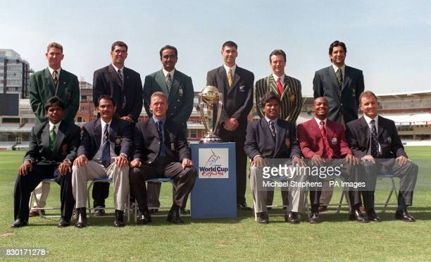 The captains of the cricket teams taking part in the 1999 Cricket World Cup A Campbell H Cronje A Karim S Fleming S Waugh W Akram A Islam M...