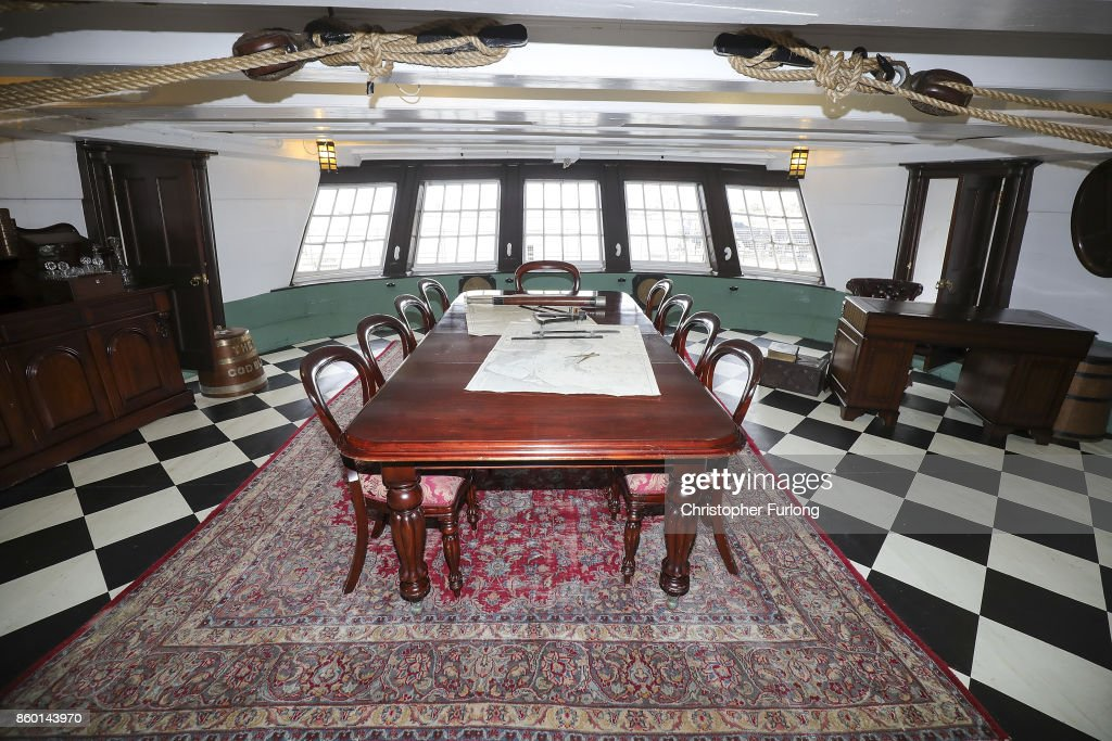 The captains table table is laid out on HMS Trincomalee as it floats in Hartlepool Historic Quay at the National Museum of The Royal Navy on October 11, 2017 in Hartlepool, England. HMS Trincomalee, celebrates it's 200th aniversary tomorrow and is the oldest British fighting ship still afloat. HMS Trincomalee was built in Bombay in 1817 and was one of the last ships commissioned to be built by Nelson. The ship was named Trincomalee after the 1782 Battle of Trincomalee in Ceylon