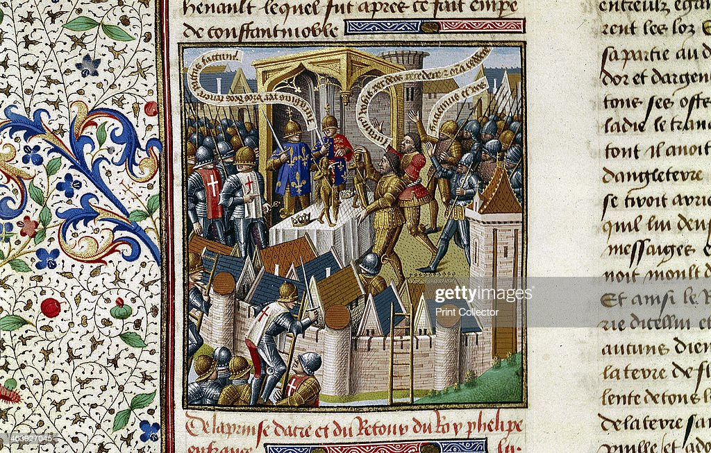 The Capture of Acre c1191 Illuminated text page showing the Capture of Acre during the 1st Crusade From Speculum Majus by French Dominican...