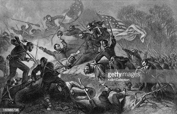 The capture of Roanoke Island off North Carolina by Union troops during the American Civil War February 1862
