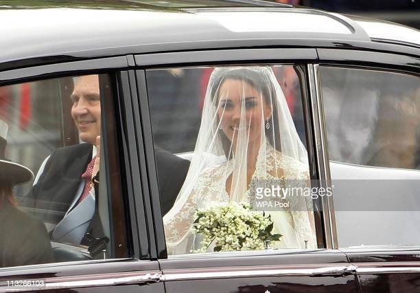 The car carrying Catherine Middleton and her father Michael Middleton is seen ahead of the Royal Wedding of Prince William to Catherine Middleton at...