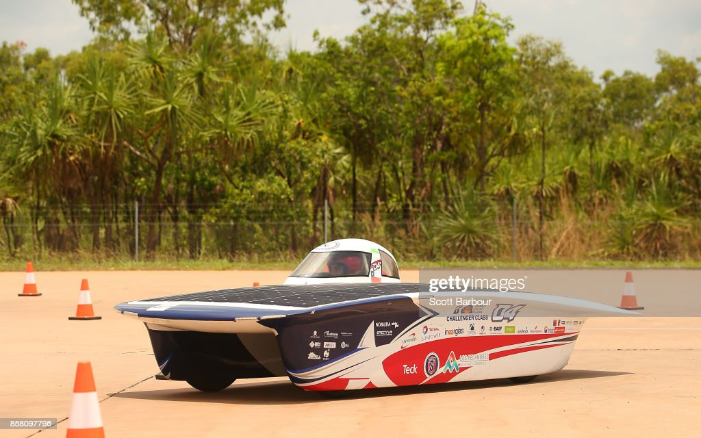 IV, the car from Chile's Universidad de La Serena - Minera Los Pelambres and Antakari conducts figure 8 testing at the Hidden Valley Motor Sport Complex before competing in the Challenger class ahead of the 2017 Bridgestone World Solar Challenge on October 6, 2017 in Darwin, Australia. Teams from across the globe are competing in the 2017 World Solar Challenge - a 3000 km solar-powered vehicle race through the Australian Outback between Darwin and Adelaide. The race attracts teams from around the world, most of which are fielded by universities or corporations although some are fielded by high schools. The race has a 30-year history spanning thirteen races, with the inaugural event taking place in 1987. The race begins on October 8th with the first car expected to cross the finish line on October 11th.