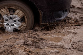the car got stuck in the mud