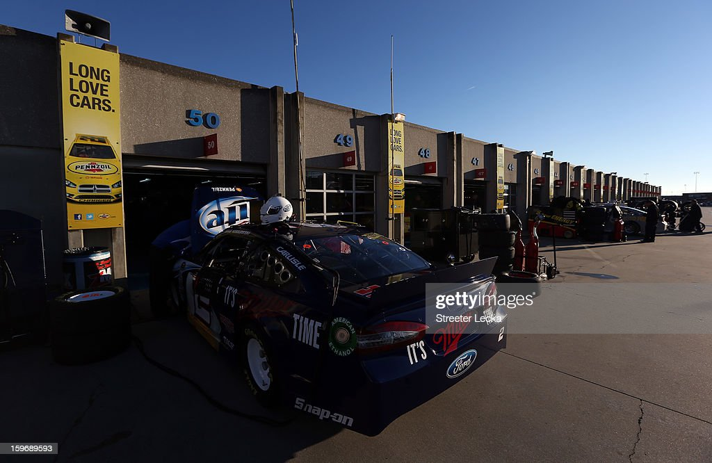 The car of Brad Keselowski, driver of the #2 Miller Lite, sits in the garage area during NASCAR Testing at Charlotte Motor Speedway on January 18, 2013 in Charlotte, North Carolina.