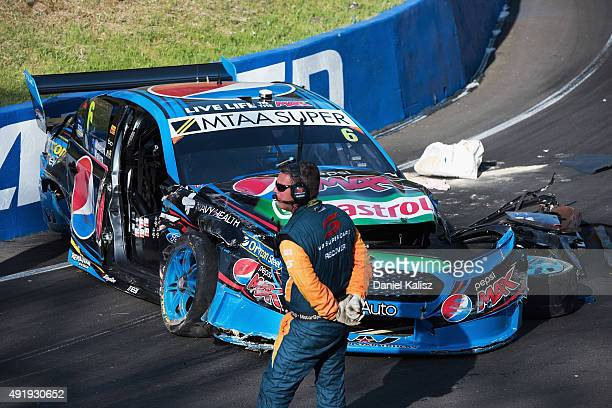 The car of Chaz Mostert driver of the Pepsi Max Crew PRA Ford FG X Falcon can be seen on the circuit after he crashed out during qualifying which has...