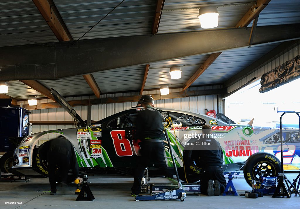 The car of Dale Earnhardt Jr., driver of the #88 Diet Mountain Dew Chevrolet, is seen in the garage during practice for the NASCAR Sprint Cup Series STP Gas Booster 500 on April 6, 2013 at Martinsville Speedway in Ridgeway, Virginia.