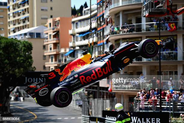 The car of Daniel Ricciardo of Australia and Red Bull Racing is removed from the circuit during final practice for the Monaco Formula One Grand Prix...