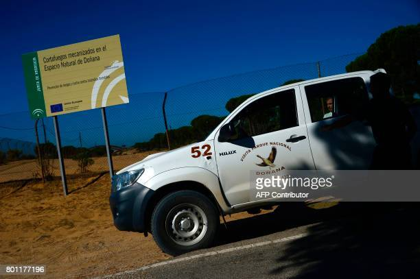 The car of Donana Natural Park's employees leaves the visitor centre El Acebuche where the Lynx is protected and where none area was affected by the...