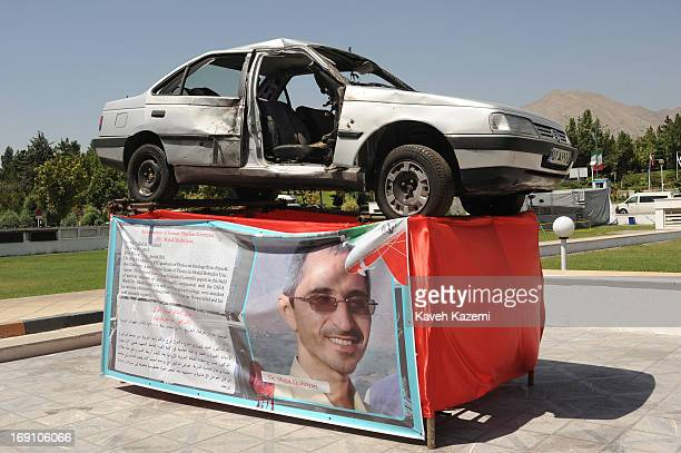 The car of Dr Majid Shahriyari Iran's assassinated nuclear scientist with scars of explosion which led to his death is exhibited in the venue of Non...