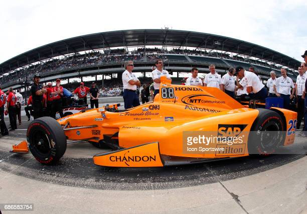 The car of Fernando Alonso driver of the McLarenHondaAndretti Honda sits on pit road after running during the IndyCar Qualifications for the...