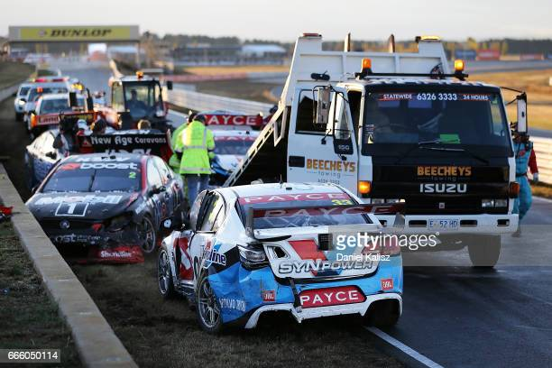 The car of Garth Tander driver of the Wilson Security Racing Holden Commodore VF during race 3 for the Tasmania SuperSprint which is part of the...