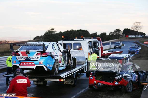 The car of James Moffat driver of the Wilson Security Racing GRM Holden Commodore VF during race 3 for the Tasmania SuperSprint which is part of the...