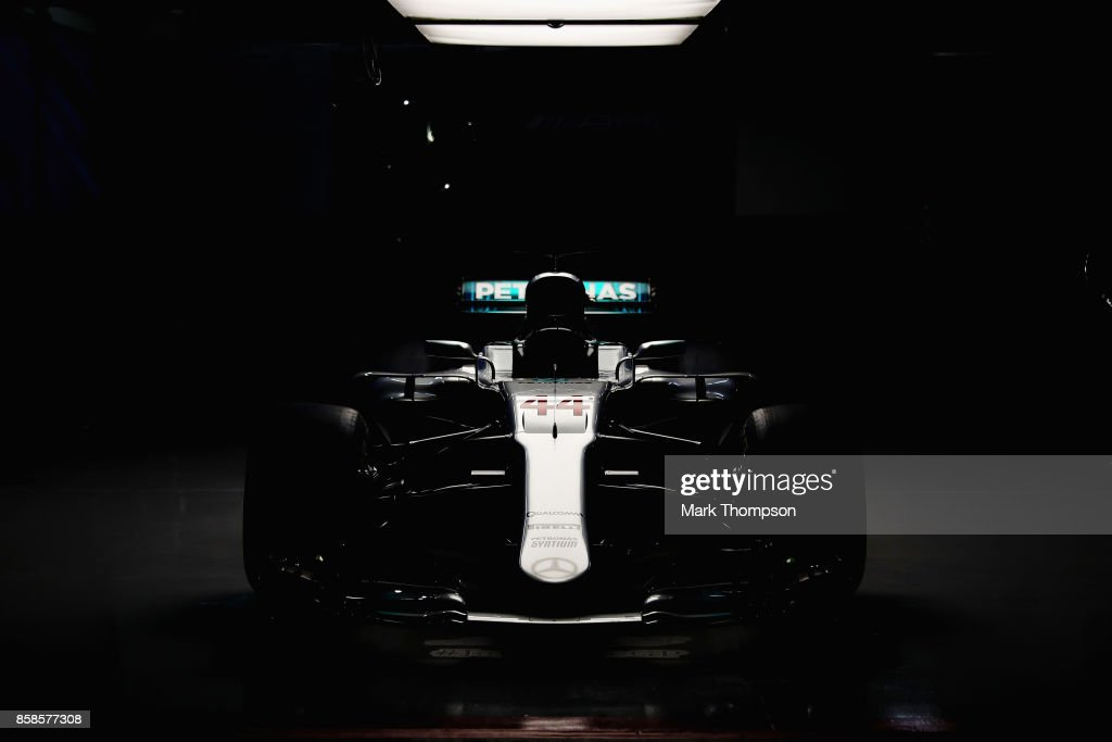The car of Lewis Hamilton of Great Britain and Mercedes GP sits in the Mercedes AMG garage after qualifying for the Formula One Grand Prix of Japan at Suzuka Circuit on October 7, 2017 in Suzuka.