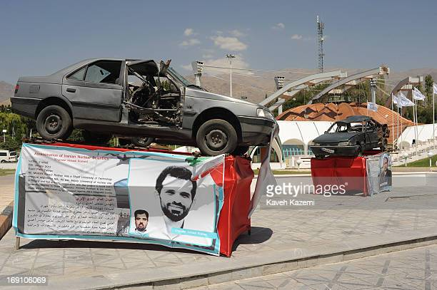 The car of Mr Ahmadi Roshan Iran's assassinated nuclear scientist with scars of explosion which led to his death is exhibited in the venue of Non...