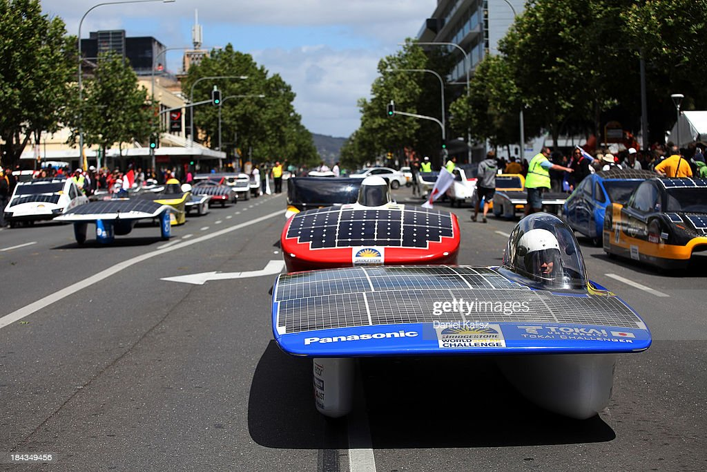 The car of Tokai University, Challenger Class from Japan takes part in the 2013 World Solar Challenge street parade on October 13, 2013 in Adelaide, Australia. Over 25 teams from across the globe competed in the 2013 World Solar Challenge, a 3000 km solar-powered vehicle race between Darwin and Adelaide, which was won by Dutch team Nuon from the Delft University of Technology.