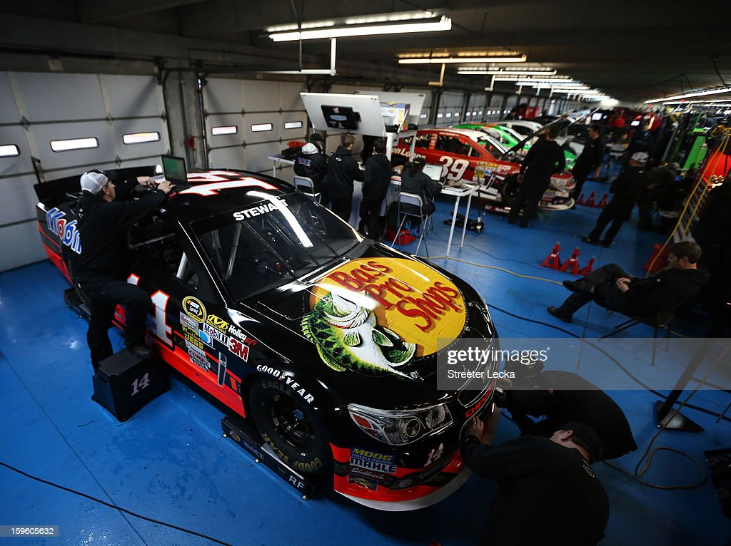 The car of Tony Stewart, driver of the #14 Bass Pro Shops Chevrolet, sits in the garage during NASCAR Testing at Charlotte Motor Speedway at Charlotte Motor Speedway on January 17, 2013 in Charlotte, North Carolina.