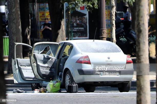 The car that smashed a police van is seen at Avenue Des Champs Elysees on June 19 2017 in Paris France Police evacuated the Champs Elysee after an...