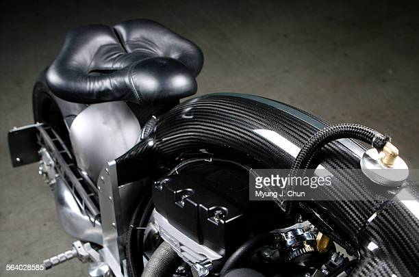 The carbon fiber backbone holds the oil on the Confederate Wraith The motorcycle is a prototype which will go into production in January in...