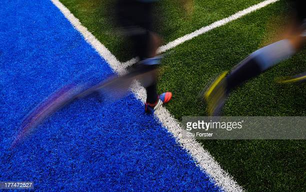The Cardiff Arms park has its first outing with its new artificial turf before the preseason friendly match between Cardiff Blues and Sale Sharks at...