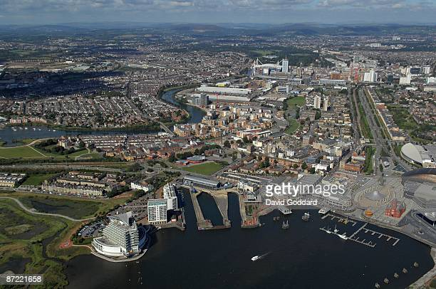 The Cardiff Bay area with the Lloyd George Avenue to the north and Millenium Stadium Cardiff on October 31 2008