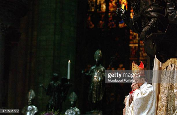 'The Cardinal Carlo Maria Martini who has been Archbishop of Milan for almost 22 years celebrates his last Christmas Mass in the Duomo Milan December...