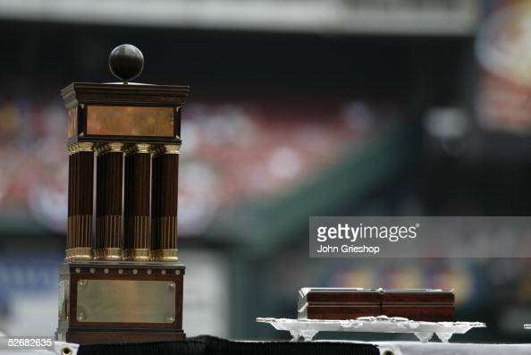 The Cardinals 2004 National League Championship Trophy is pictured before the game between the St Louis Cardinals and the Philadelphia Phillies at...