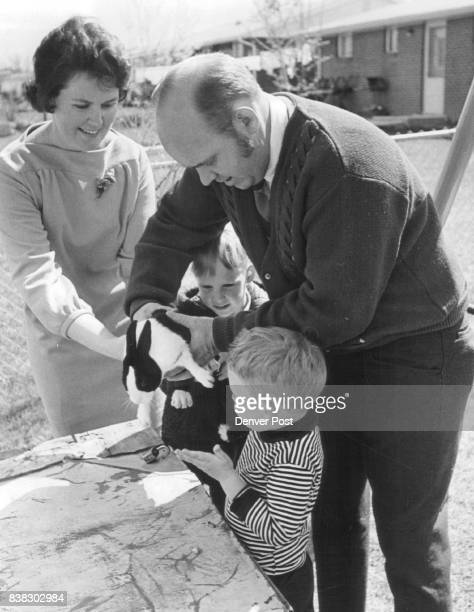 The care and feeding of a pet rabbit dubbed Charlie Brown is one of the family projects enjoyed by Mr and Mrs Walter Davidson and Sons William and...