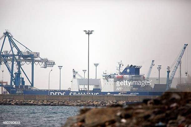 The cargo ship Ark Futura that will carry chemical weapons out of Syria is docked in the port of Limassol in the east Mediterranean island of Cyprus...