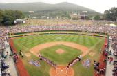 The Caribbean and the Northwest teams line up for team introductions during the Championship Game of the Little League World Series on August 28 2005...