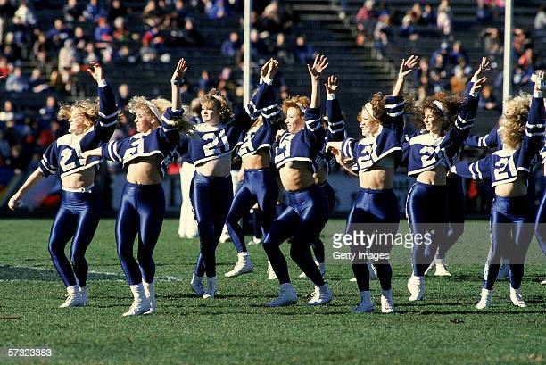 The Carlton Blue Birds perform during the halftime break during a AFL match held in Melbourne Australia