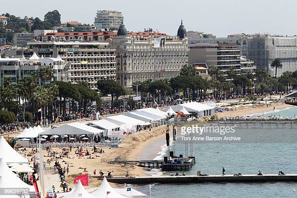 The Carlton hotel over looks the beach during 63rd Cannes Film Festival on May 17 2010 in Cannes France