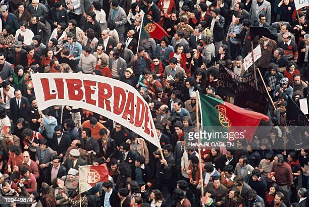 The carnation revolution in Lisbon Portugal in May 1 1974 Demonstration