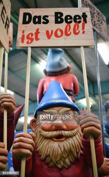 The carnival float 'Zwergenaufstand' featuring rightwing populist parties pictured during a press preview at the MCV carnival association on February...