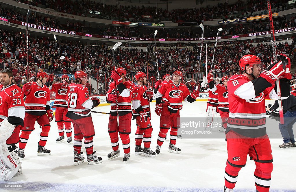 The Carolina Hurricanes defeated the Montreal Canadiens in a shoot out 2-1 and thank the fans following their final home game on Apri 5, 2012 at PNC Arena in Raleigh, North Carolina.