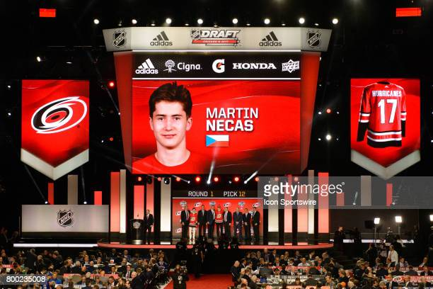 The Carolina Hurricanes select center Martin Necas with the 12th pick in the first round of the 2017 NHL Draft on June 23 at the United Center in...