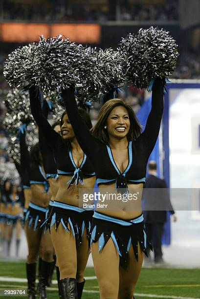 The Carolina Panthers cheerleaders the TopCats perform during an intermission in Super Bowl XXXVIII against the New England Patriots at Reliant...