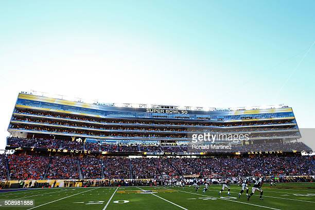 The Carolina Panthers kick the ball to start the game against the Denver Broncos during Super Bowl 50 at Levi's Stadium on February 7 2016 in Santa...
