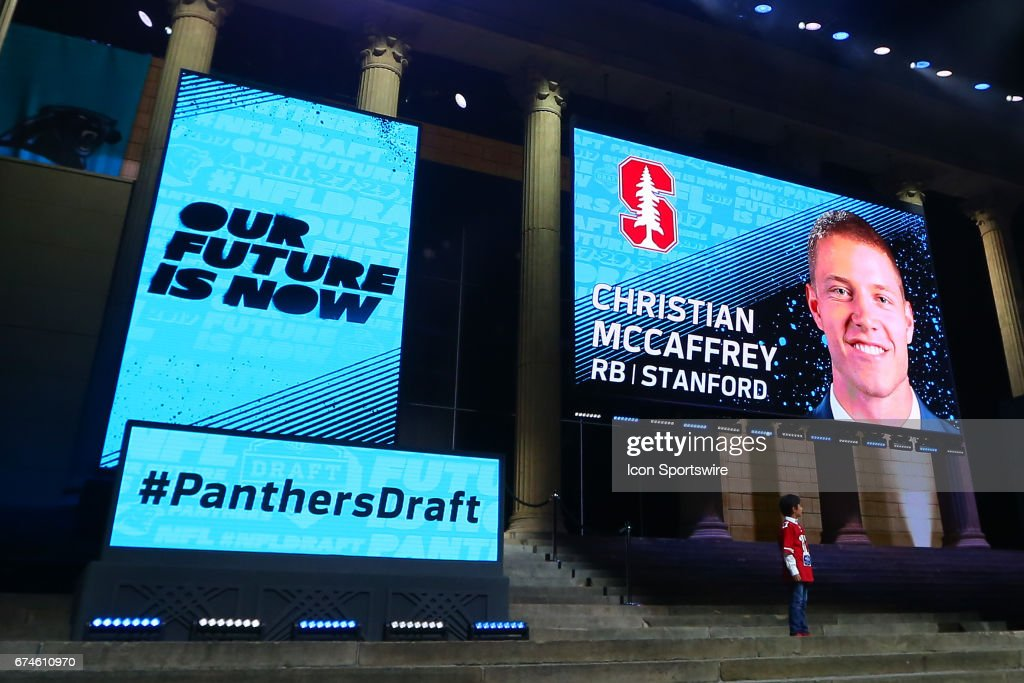 The Carolina Panthers select Christian McCaffery from Stanford with the 8th pick at the 2017 NFL Draft at the 2017 NFL Draft Theater on April 27, 2017 in Philadelphia, PA.