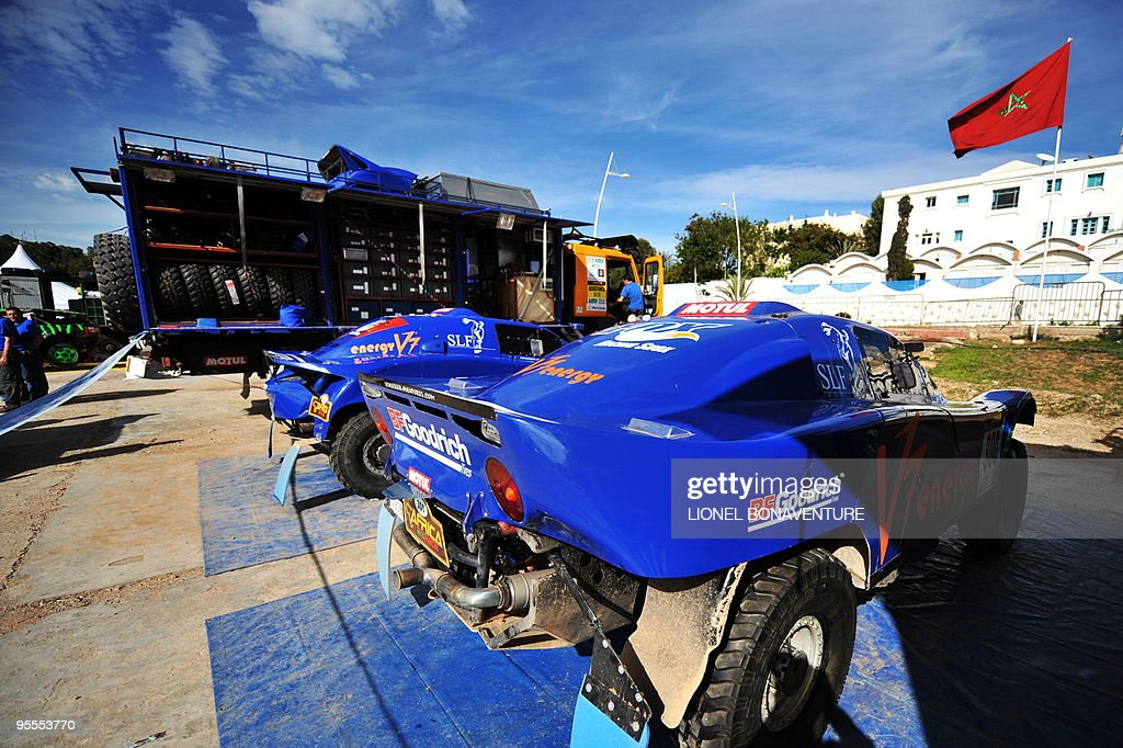 The cars of France's Jean-Louis Schlesser are parked in the bivouac in Agadir, Morocco, during a rest day of the second edition of the Africa Eco Race, on January 3, 2010. The Africa Eco Race started on December 30, 2009 in Nador, Morocco, and continues over 11 days and 6,000 kilometres through Mauritania to lac Rose in Senegal.