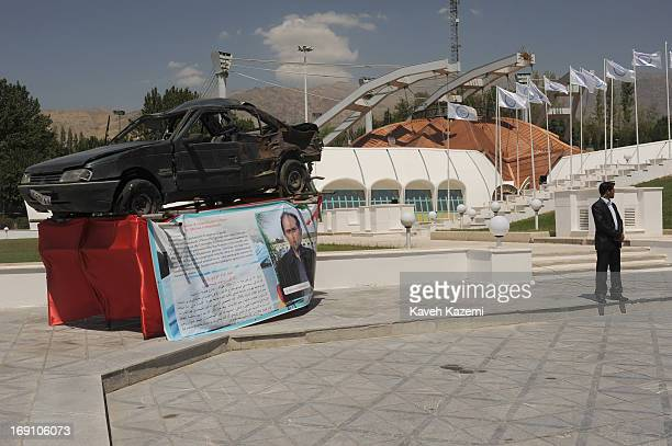 The cars of Iran's assassinated nuclear scientists with scars of explosion which led to their death are exhibited in the venue of Non Alligned...