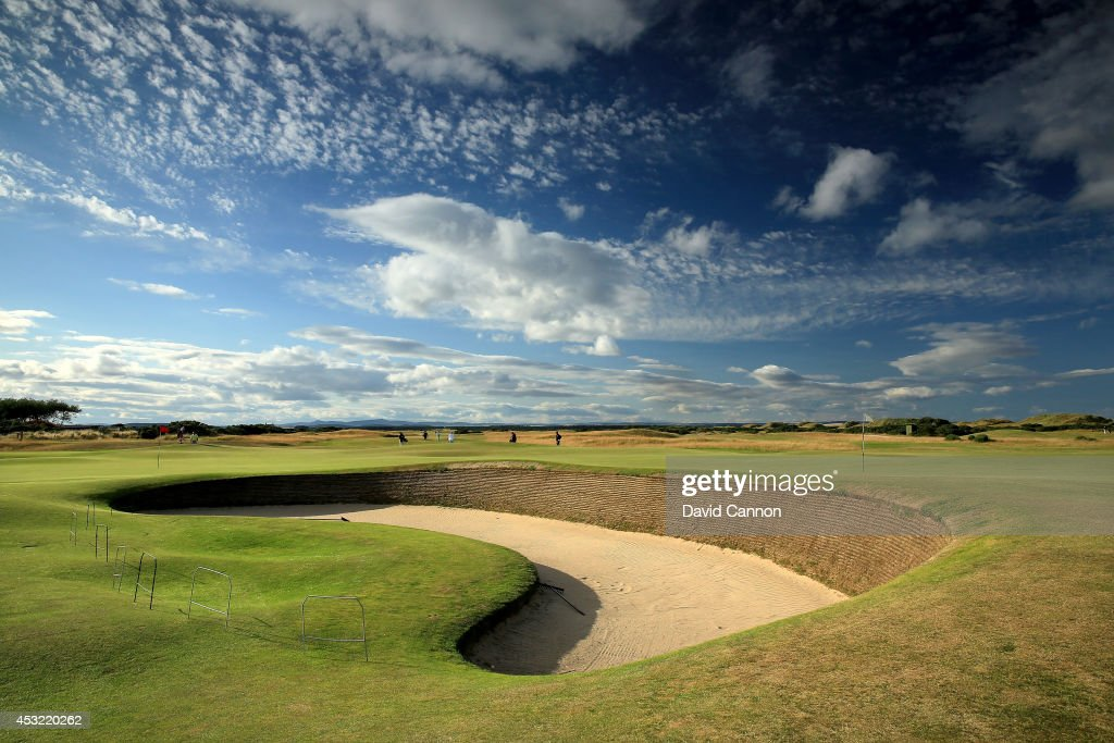 The 'Cartgate Bunker' that protects the green on the par 4, 3rd hole 'Cartgate Out' which shares it's green with the par 4, 15th hole on the Old Course at St Andrews venue for The Open Championship in 2015, on July 29, 2014 in St Andrews, Scotland.
