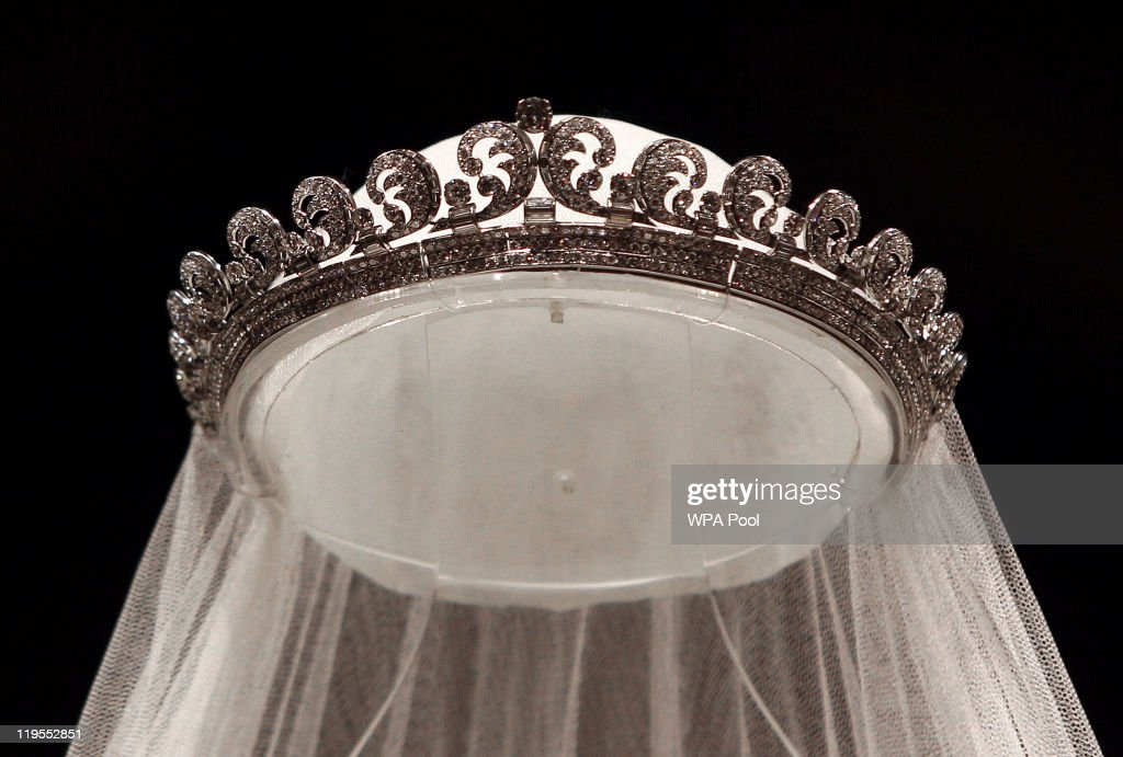 The Cartier 'Halo' tiara, worn by the Duchess of Cambridge on her wedding day is photographed before it goes on display at Buckingham Palace during the annual summer opening on July 20, 2011 in London, England. The tiara, which was her 'something borrowed', was loaned to the bride by the Queen, a tradition for royal weddings.The Duchess of Cambridge wore the tiara on her wedding day on April 29 to Prince William, Duke of Cambridge.