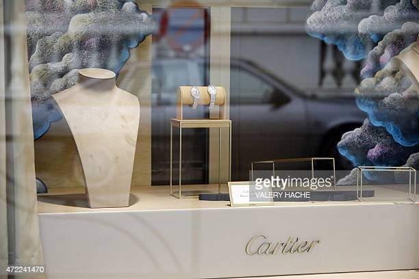 The Cartier jewellery shop window on the Croisette in Cannes French Riviera on May 5 after the hold up by four armed men who fled with a large amount...
