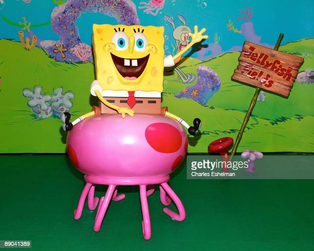 The cartoon character Spongebob Squarepants wax figure is displayed at the unveiling at Madame Tussauds on July 15 2009 in New York city