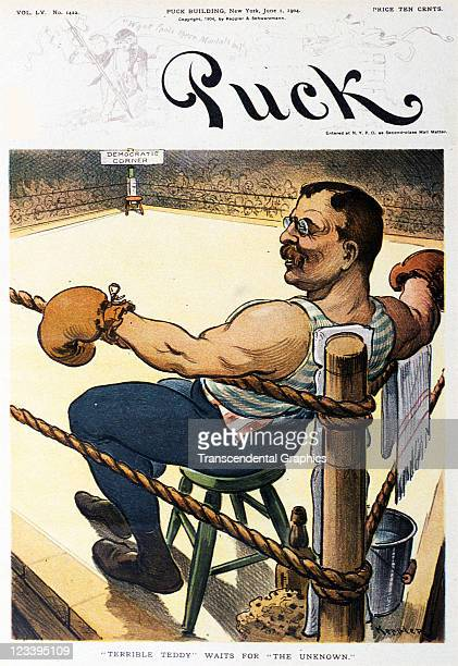 The cartoon image of Teddy Roosevelt as a boxer between rounds is the cover art for Puck magazine issue June 1 1904 in New York City